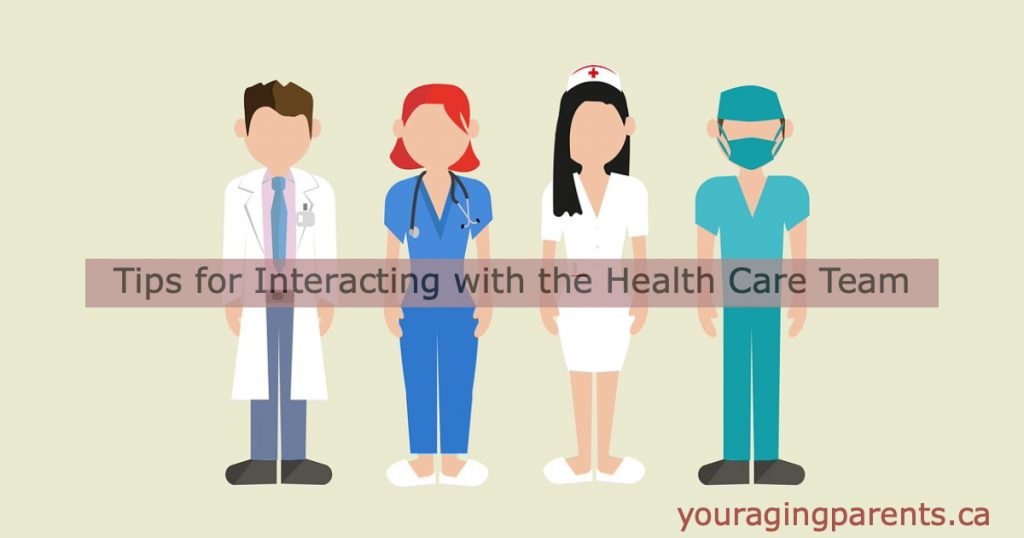 4 health care professionals with title of article tips for interacting with the health care team