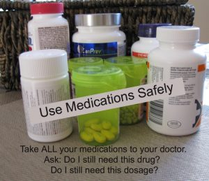 Bottles of pills prescriptions over-the-counter and herbal products. Label Take All medications to doctor. Ask. Do I still need this drug? Do I need this dosage?