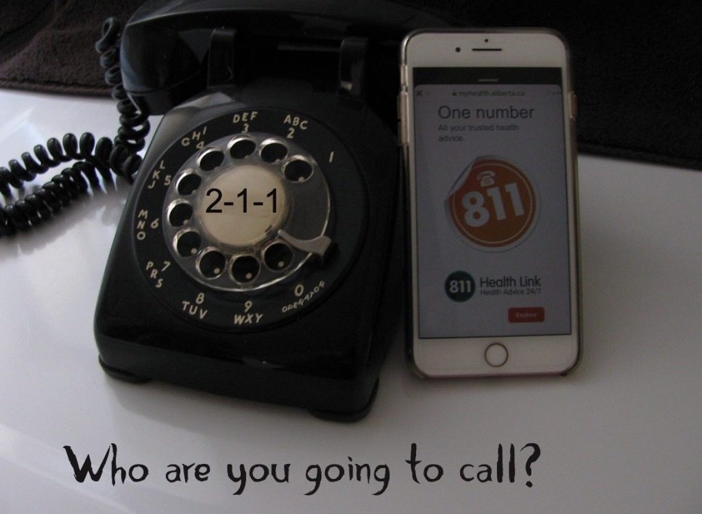rotary dial phone will number 211 and cell phone with number 811 and label who are you going to call