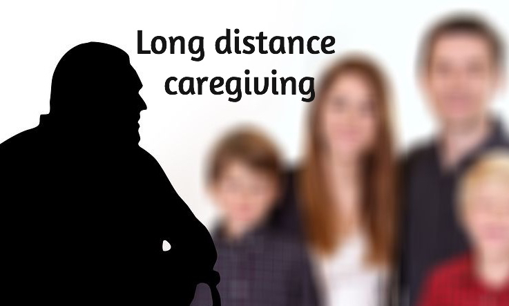 Shadow of man in a wheelchair in front. Blurred image of family in background. Label Long Distance Caregiving