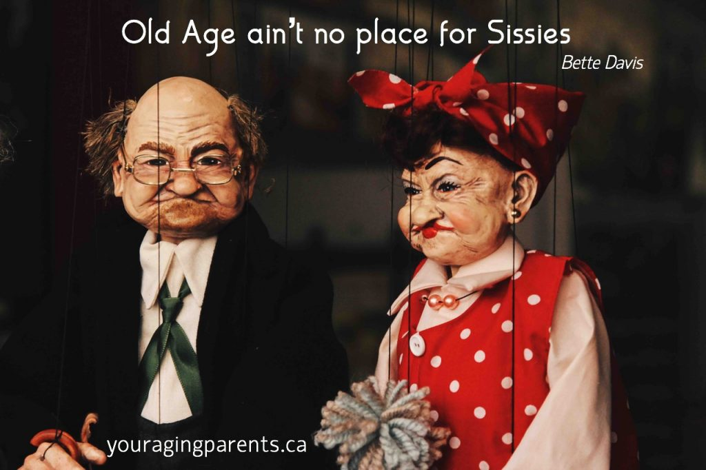 puppets older man and woman with quote Old Age Ain't No Place for Sissies